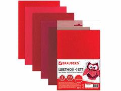 660642 Цветной фетр для  творчества А4 210*297 5л., 5цв., оттенки красного