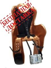 Велокресло для детей HTP ELIBAS T (коричневое), крепление к подседельной трубе