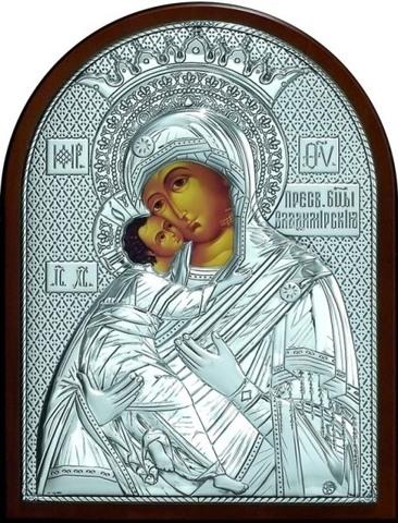 Серебряная икона Божией Матери Владимирская 25х19см