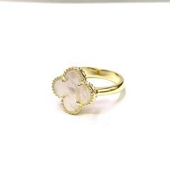 Кольцо Trendy из серебра в лимонной позолоте со вставкой перламутр  1 мотив