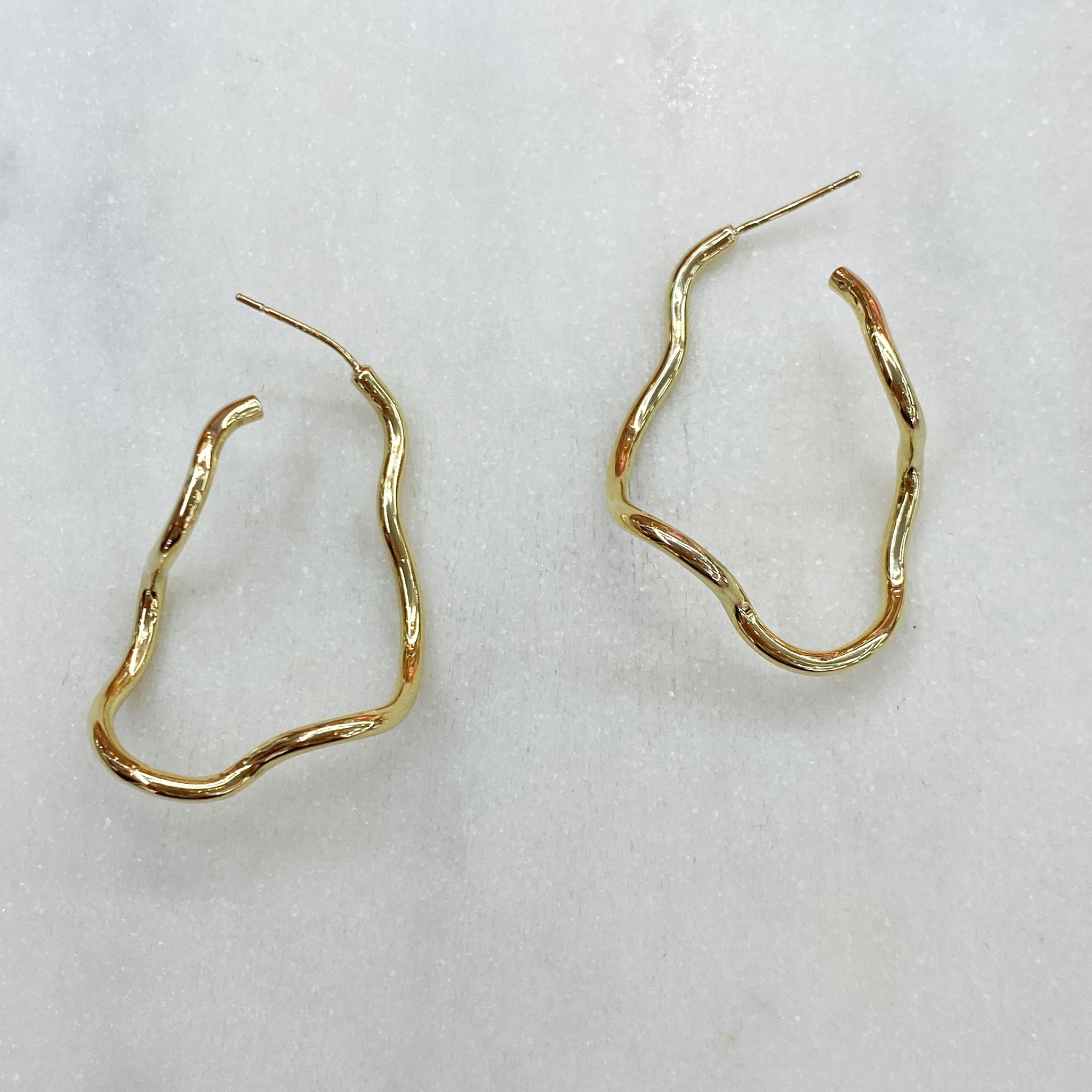 Серьги-конго неровные ш925 (золотистый)
