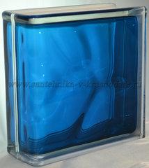 Торцевой стеклоблок синий окрашенный изнутри Vitrablok 19x19x8