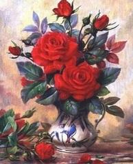 Картина раскраска по номерам 30x40 Красные розы в вазе с птицами