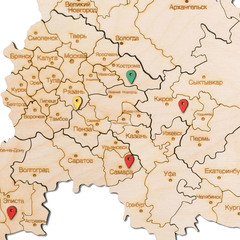 Карта России из дерева White фото 3