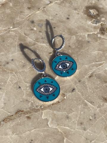 Серьги Око из серебра, голубая эмаль