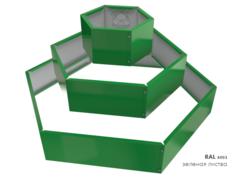 Клумба многоугольная оцинкованная Альпийская горка 3 яруса RAL 6002 Зеленая листва