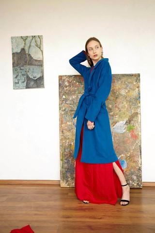 Пальто-халат бирюзовое
