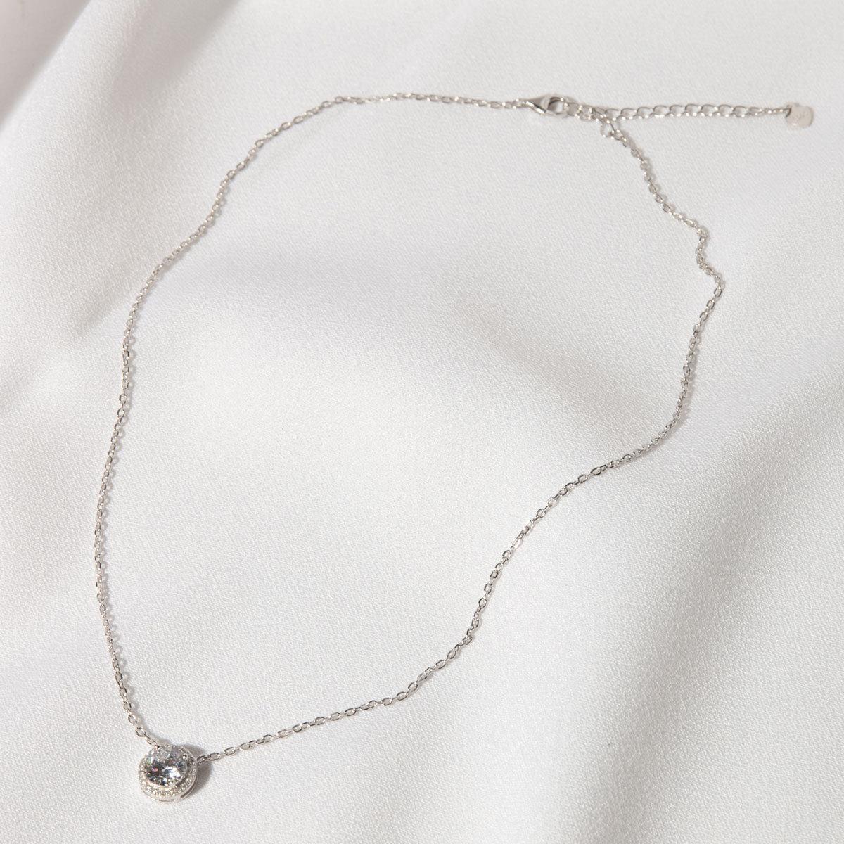Подвеска круглый циркон в розетке белый (серебро 925)