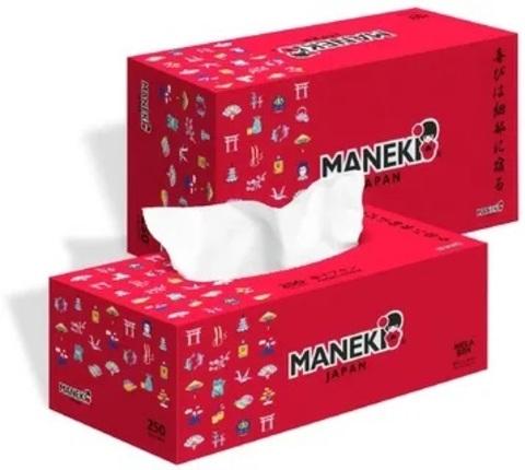 Салфетки бумажные Maneki 2 слоя белые 250 шт
