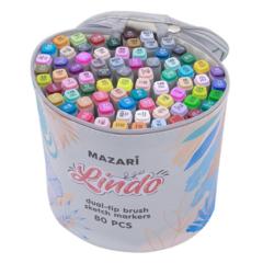 Mazari Lindo набор маркеров для скетчинга 80 шт двусторонние спиртовые кисть/долото 1.0-6.2 мм (вкл. блендер) в круглой сумке