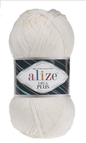 Пряжа Alize Diva Plus 62 молочный