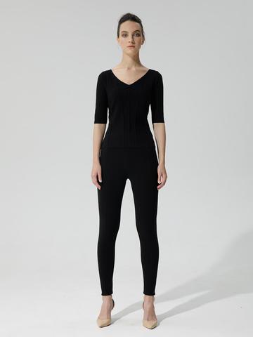 Женские брюки черного цвета с рельефными полосками из вискозы - фото 2