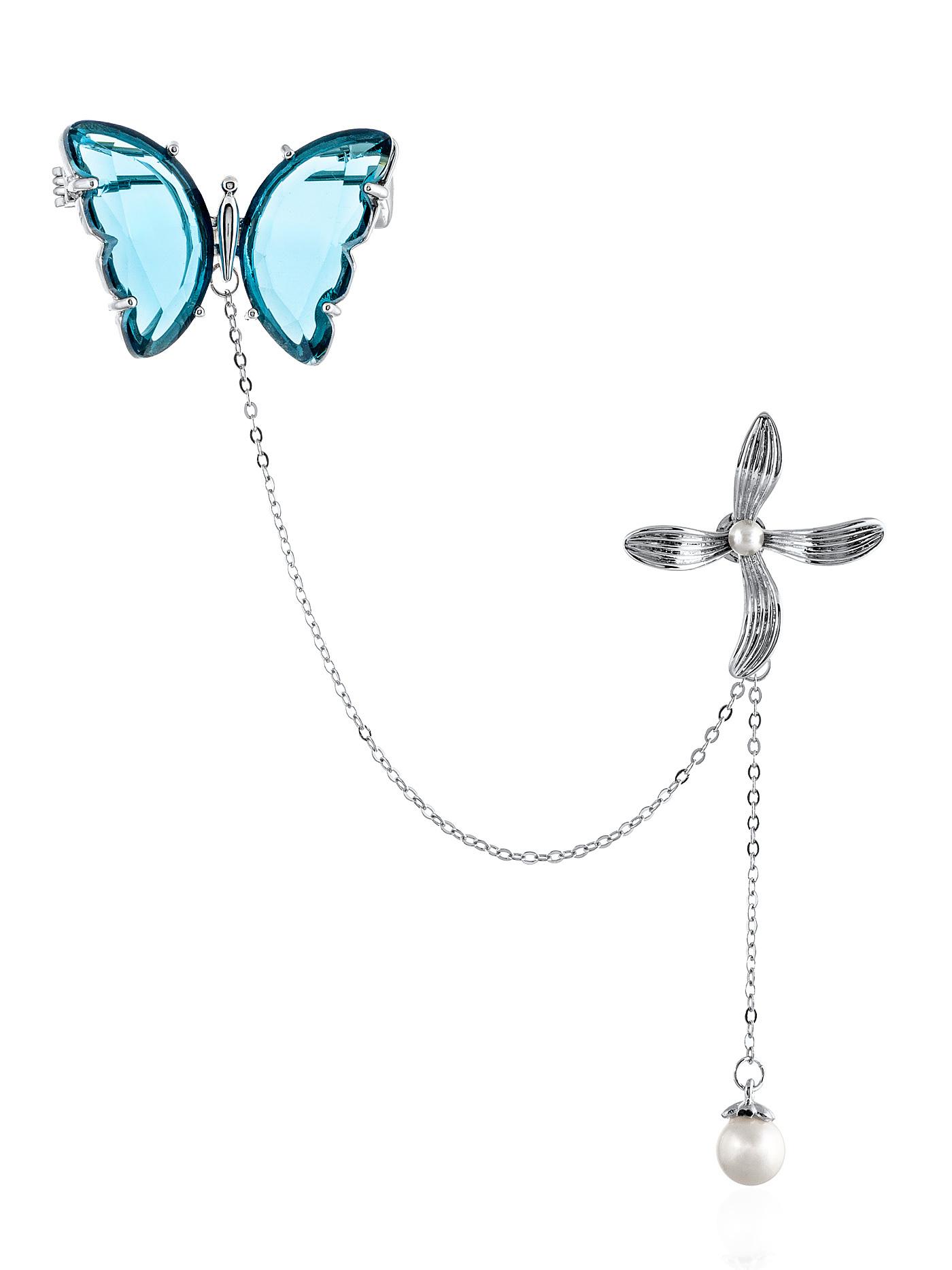 Брошь с кристаллами Бабочка с цветком в подарочной коробке