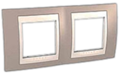 Рамка на 2 поста. Цвет Коричневый/Белый. Schneider electric Unica Хамелеон. MGU6.004.874