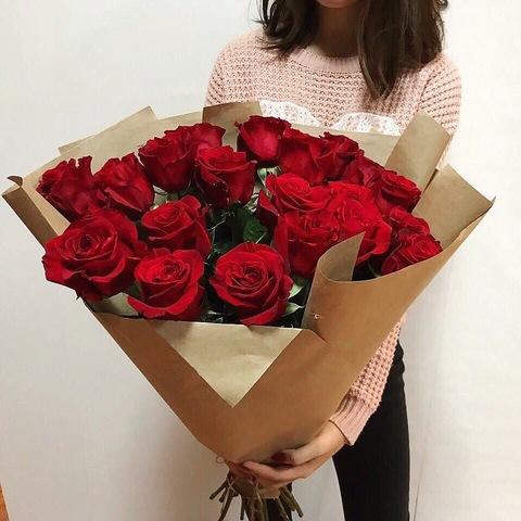 25 красных роз Рэд Наоми 50 см в оформлении  (PBFlora) #2011
