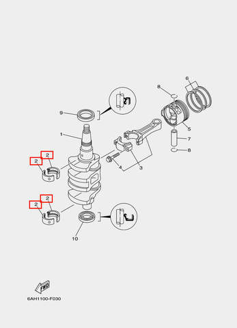 Вкладыши шатунные для лодочного мотора F20 Sea-PRO (3-2)