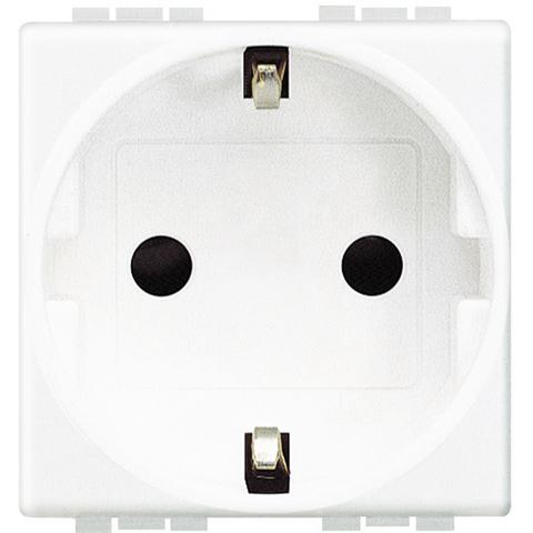 Розетка 2К+З, 10/16 А 250 В с заземляющими контактами Schuko, с защитными шторками, 2 модуля. Цвет Белый. Bticino Livinglight. N4141