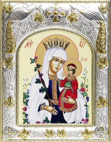 Серебряная икона Божья Матерь Неувядаемый Цвет 18x14см