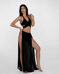 Пляжная юбка из шифона с разрезом