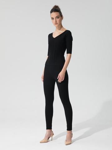 Женские брюки черного цвета с рельефными полосками из вискозы - фото 4