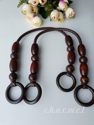 Ручки для сумки  эко кожа+дерево (2 шт), 45 см, цвет коричневый