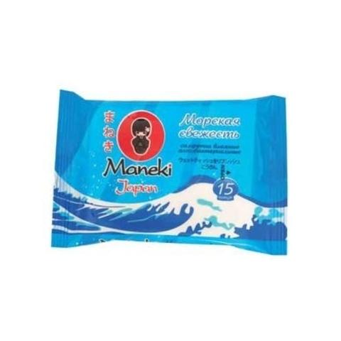 Салфетки влажные Maneki антибактериальные Морская свежесть 15 шт