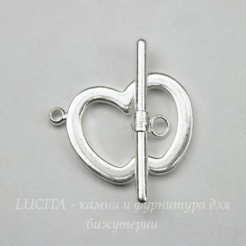 "Замок - тоггл из 2х частей ""Яблоко"" (цвет -  серебро) 20х15 мм, 24 мм"