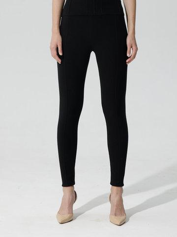 Женские брюки черного цвета с рельефными полосками из вискозы - фото 3