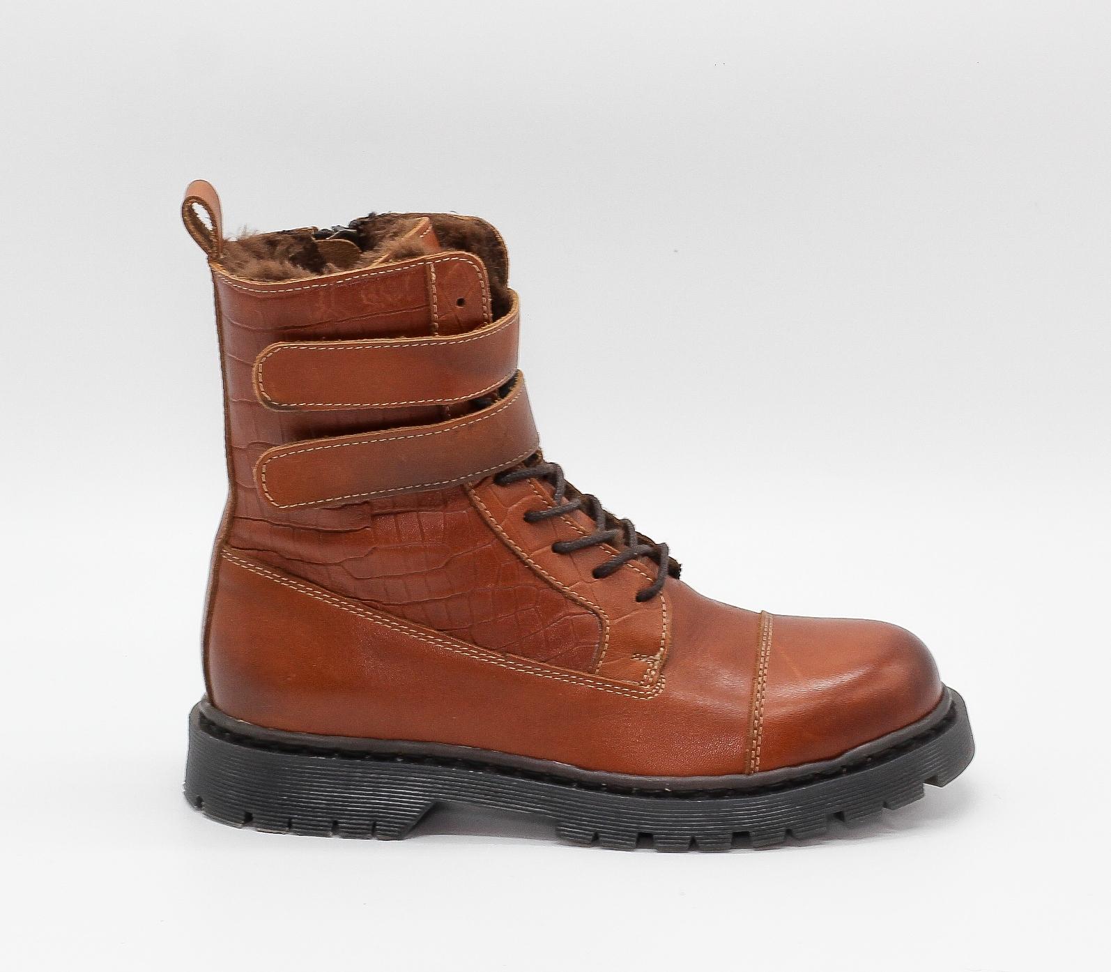 Кожаные рыжие ботинки на протекторной подошве