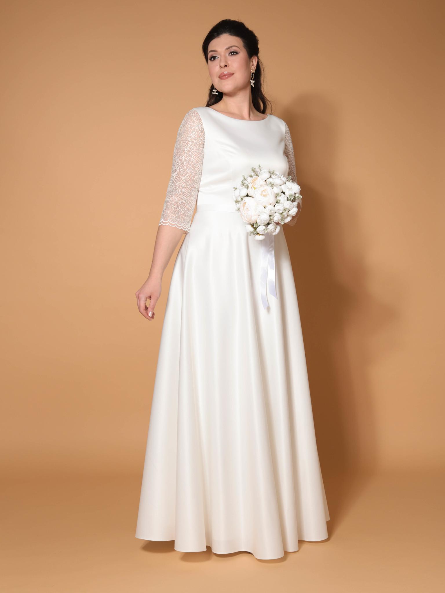 Свадебное платье Классика с кружевным рукавом три четверти + (молочный)