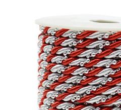 Шнур декоративный двухцветный с бусинками 4 мм, 1 м.