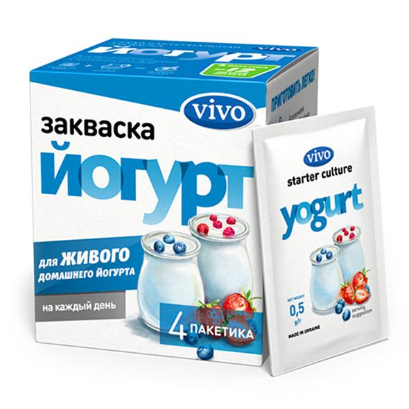 Закваска Йогурт VIVO, 4 саше по 0.5 гр.