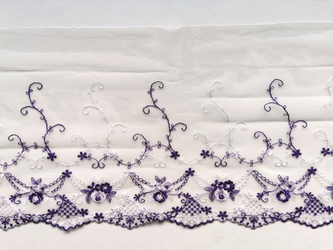 Вышивка на сетке, ЛЕВАЯ, 18 см, шампань/фиолетовый,(Арт: VS-1023), м
