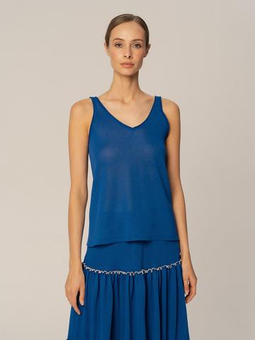 Женская майка синего цвета из вискозы - фото 2