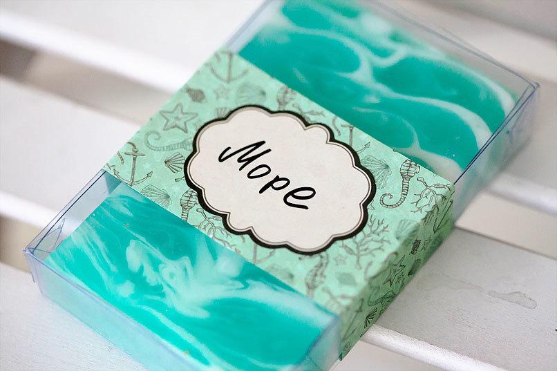 Этиклейка на упаковку для мыла Море