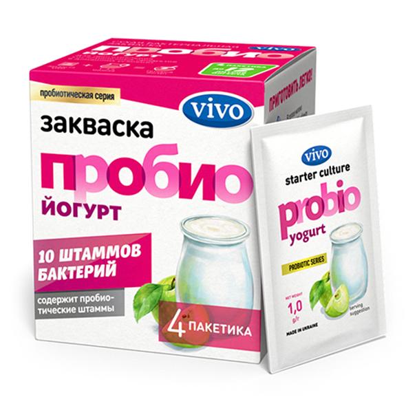 Закваска ПробиоЙогурт VIVO, 4 саше по 0.5 гр.