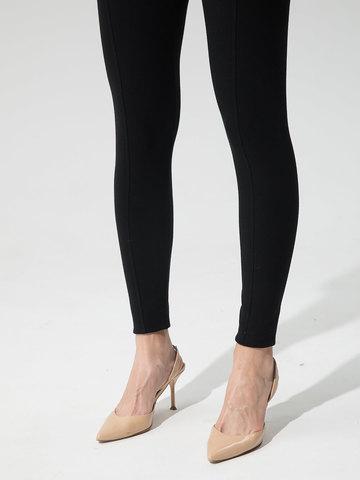 Женские брюки черного цвета с рельефными полосками из вискозы - фото 5