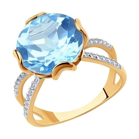 715923 - Кольцо из золота с топазом и фианитами