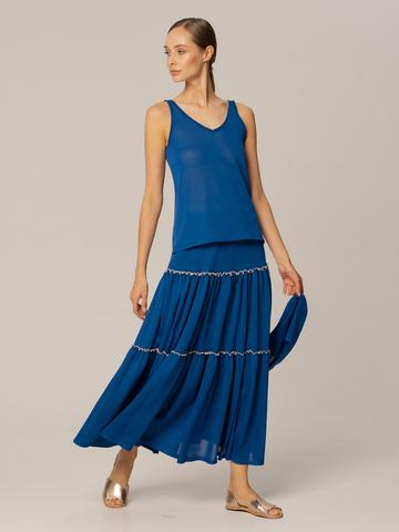 Женская майка синего цвета из вискозы - фото 3