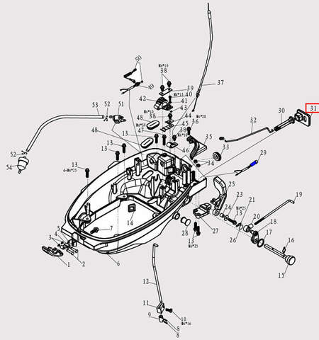 Основание ручки воз. заслонки 10*10*80 для лодочного мотора F9.8 Sea-PRO (2-31)