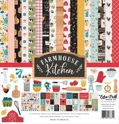 Набор двусторонней бумаги 30х30см со стикерами  Echo Park Collection Kit -Farmhouse Kitchen