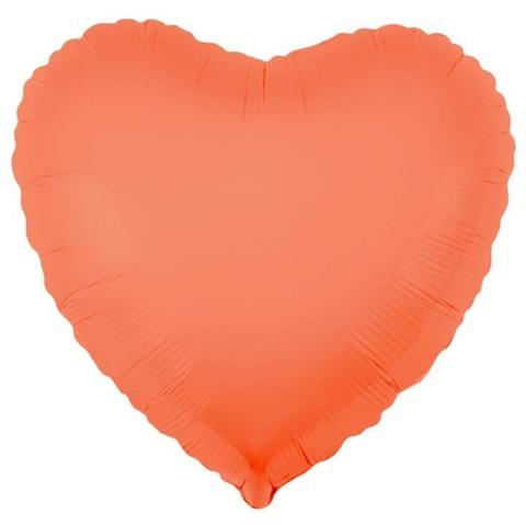 Шар-сердце неон персиковый, 45 см