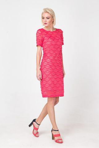 Фото розовое кружевное платье прямого силуэта - Платье З355-120 (1)