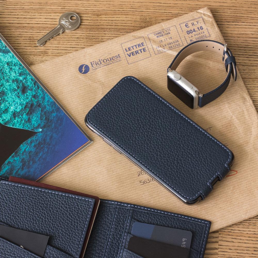 Чехол для iPhone 8/SE из натуральной кожи теленка, цвета синий мат