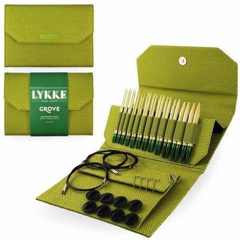 Набор укороченных бамбуковых разъемных спиц Lykke Green Basketweave Effect 7 см