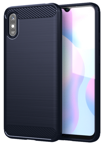 Чехол Carbon для Xiaomi Redmi 9A серия Карбон | синий