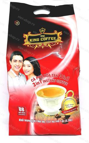 Кофе растворимый King Coffee, 3 в 1, 88 пак.