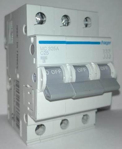 арт.MC325A; Автоматический выключатель 3P 6kA C-25A 3M