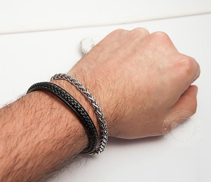BM421 Оригинальный браслет из кожи и стальной цепочки (20,5 см) фото 05