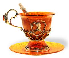 """Чашка для чая с блюдцем и ложечкой, янтарь, серия """"Императорская"""", Екатерина"""